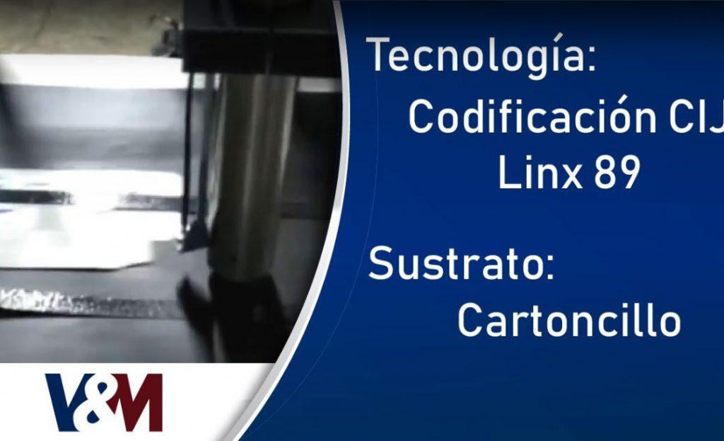 Alimentador transportador con codificación CIJ Linx 8900 en envases de cartoncillo