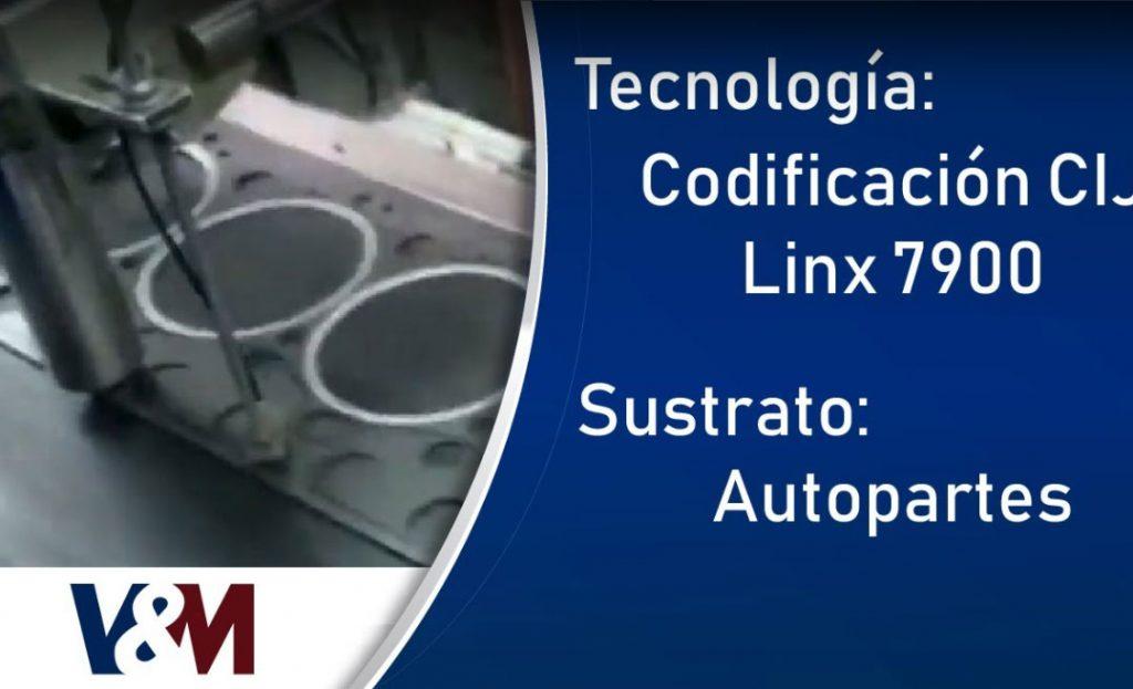 Codificación CIJ Linx 7900 tinta pigmentada en autopartes