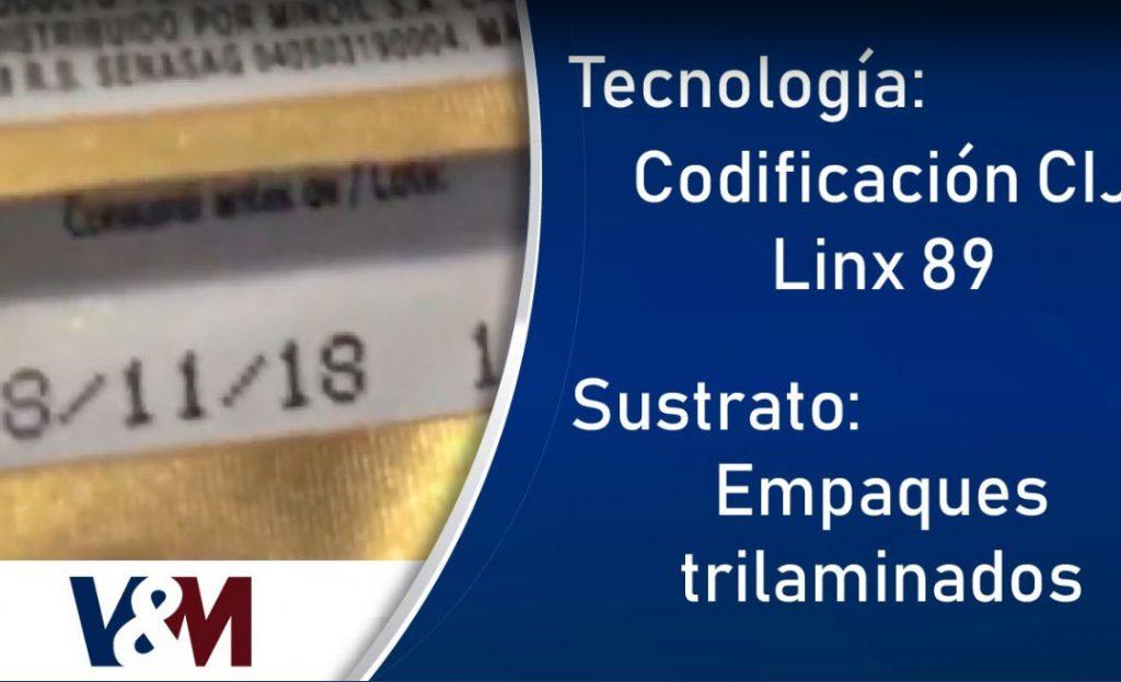 Codificación CIJ Linx 8900 en empaques trilaminados de mantequilla
