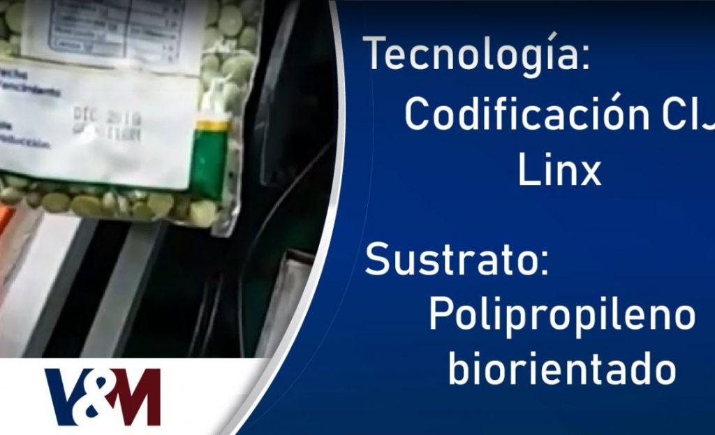 Codificación CIJ Linx en bolsa BOPP/PEBD de arvejas