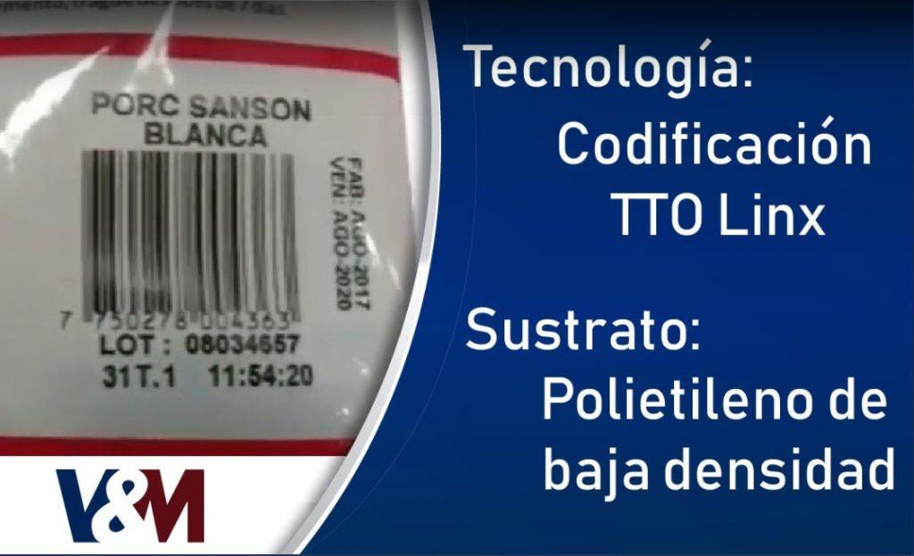 Codificación por termotransferencia TTO en bolsas de polietileno de baja densidad (LDPE)